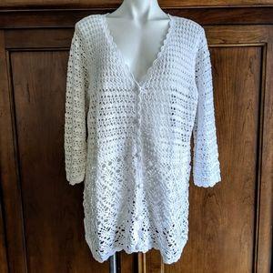 Liz Claiborne NY Hand Crochet V-Neck Cardigan NEW